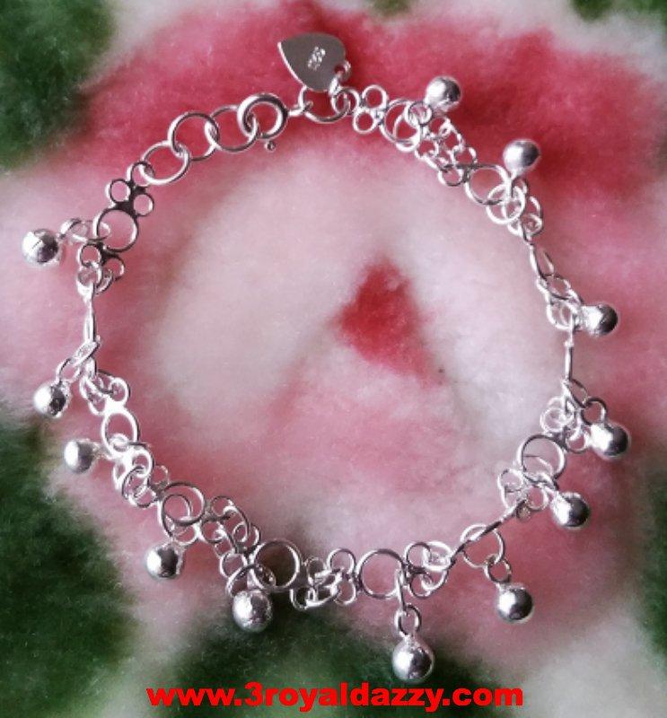 Little Melody Ball Charms .925 Anti Tarnish Sterling Silver Dangling Bracelet