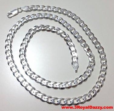 "Men Women Children Sterling Silver Italian Cuban Curb Thicker Necklace 5.5mm 30"""
