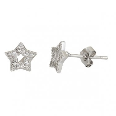 Sparkling Open Star Micro Pave CZ .925 Sterling Silver Stud Earrings For All