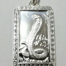 Chinese Zodiac Horoscope 999 fine Silver Rectangle Year of Snake Pendant charm