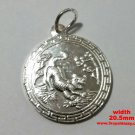 Chinese Zodiac Horoscope 999 fine Silver Round Year of Tiger Pendant charm