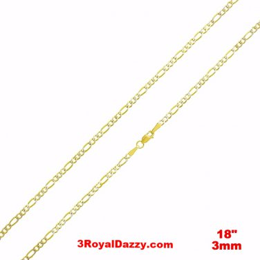 "Italian diamond cut 14k white & yellow gold layer over Silver Figaro- 3mm- 18"""