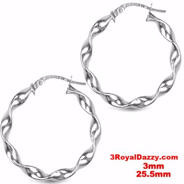 Twisted Round Hoop Earring 14kt gold layer on Silver notched Post Back- 3mm 25mm