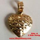 14k gold Layer on Sterling Silver Reversible Diamond cut & Polish Heart Pendant
