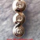 18k w. gold layer Solid Silver Brilliance three Round Bezel set CZ Pendant charm