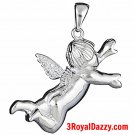 New Heaven Cute 3D lovely Baby flying Guardian Angel 925 Solid Silver CZ Charm