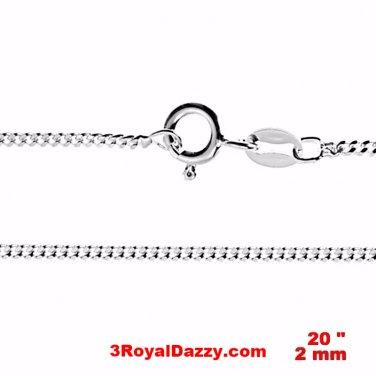 "Precious Italian Anti-Tarnish Sterling Silver strong Curb link Chain 2 MM 20 """