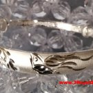 Handmade Happy Together Flying Dove 999 Solid Fine Silver Adjustable Bangle