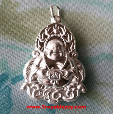 Happiness On Your Side Lunar New Year Buddha .999 Solid Silver Hollow Pendant