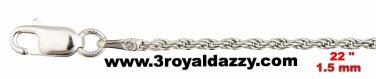 "Precious Italian .925 Sterling Silver Fashion  Classic Rope Chain 1.5 MM 22 """