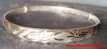Handmade Top Of The Line Dragon Phoenix 999 Solid Fine Silver Adjustable Bangle