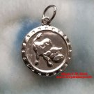 Chinese Zodiac Horoscope 999 fine Silver Round Year of Ox Pendant charm Small