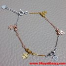 14k Tri-Color gold layer on 925 Silver Dangling Little Fishes Charms Bracelet