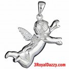 New Heaven Cute 3D lovely Baby flying Guardian Angel 925 Silver Healing CZ Charm