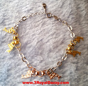 14k Rose, Yellow, White Gold Layer on 925 Silver Twin Dolphin Charms Bracelet