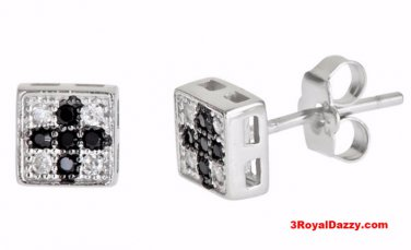 14k white gold layer on Square Cross style black CZ Sterling Silver Stud Earring