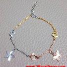 14k Tri-Color Gold Layer on 925 Silver Dangling Big Stars Flowers Charm Bracelet