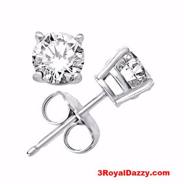 Platinum Layered Sterling Silver Round Cut Cz Unisex Prong Setting Stud Earrings