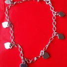 18k white gold layer on Solid 925 Sterling Silver dangling Heart charms bracelet