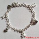 Baby Teddy Bears & Ball Bell Dangling .925 Sterling Silver Charms Girls Bracelet