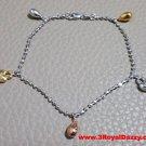 14k Tri-Color Gold Layer on 925 Silver Dangling Heart Padlock Charms Bracelet