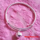 New Handmade 925 Solid Silver Round Spiral & Bell Newborn Baby Adjustable Bangle