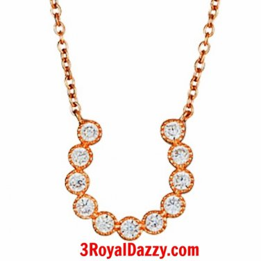 14k Rose Gold layer on .925 Sterling Silver Crystal CZ Horseshoe Charm Necklace