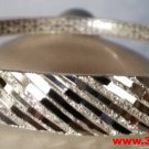 Handmade Textured Glittering Line Design 999 Solid Fine Silver Adjustable Bangle