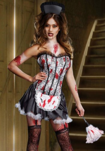 NEW Halloween Sexy French MAID MAYHEM Costume Zombie Vampire Bloody size- Large