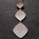 New 14k White Gold On 925 Diamond Shape Charm Pendant