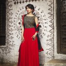 Red Black Designer Embroidery Dress