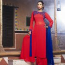 Red Blue Embroidery Designer Dress (Palazzo Suit)