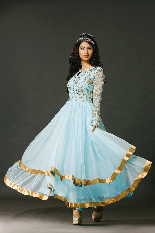 Sky Blue Anarkali Designer Embroidery Dress