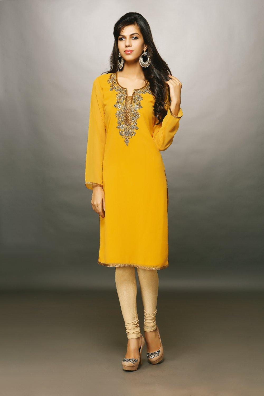 Yellow Designer Embroidery Suit (Kurti)