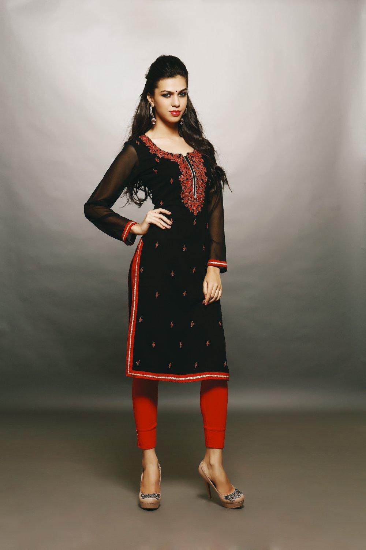 Black Red Designer Embroidery Suit (Kurti)