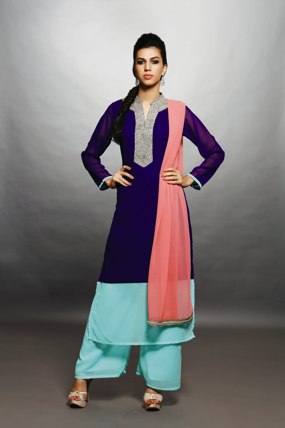 Purple, Sky Blue & Pink Designer Embroidery Dress (Palazzo Suit)