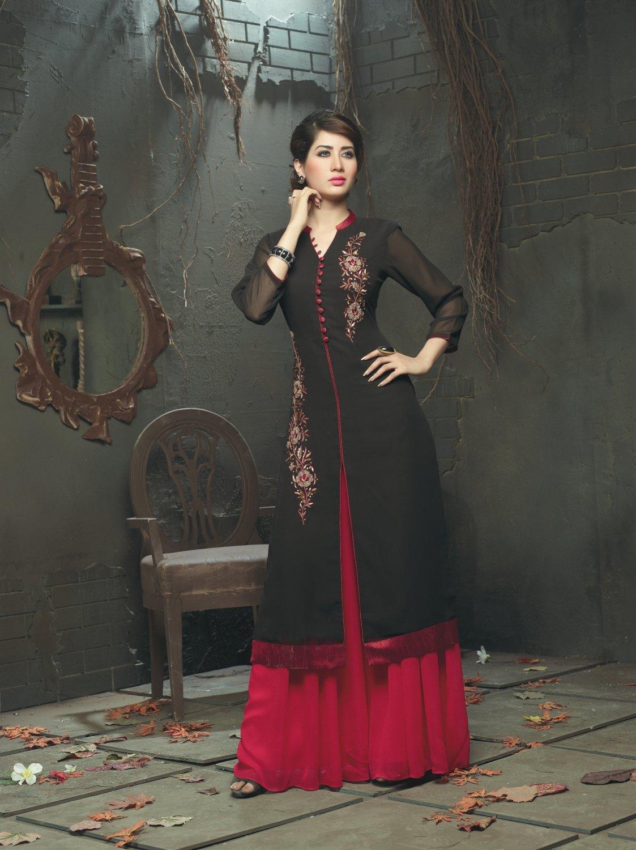 Black Designer Embroidery Suit (Long Kurti)