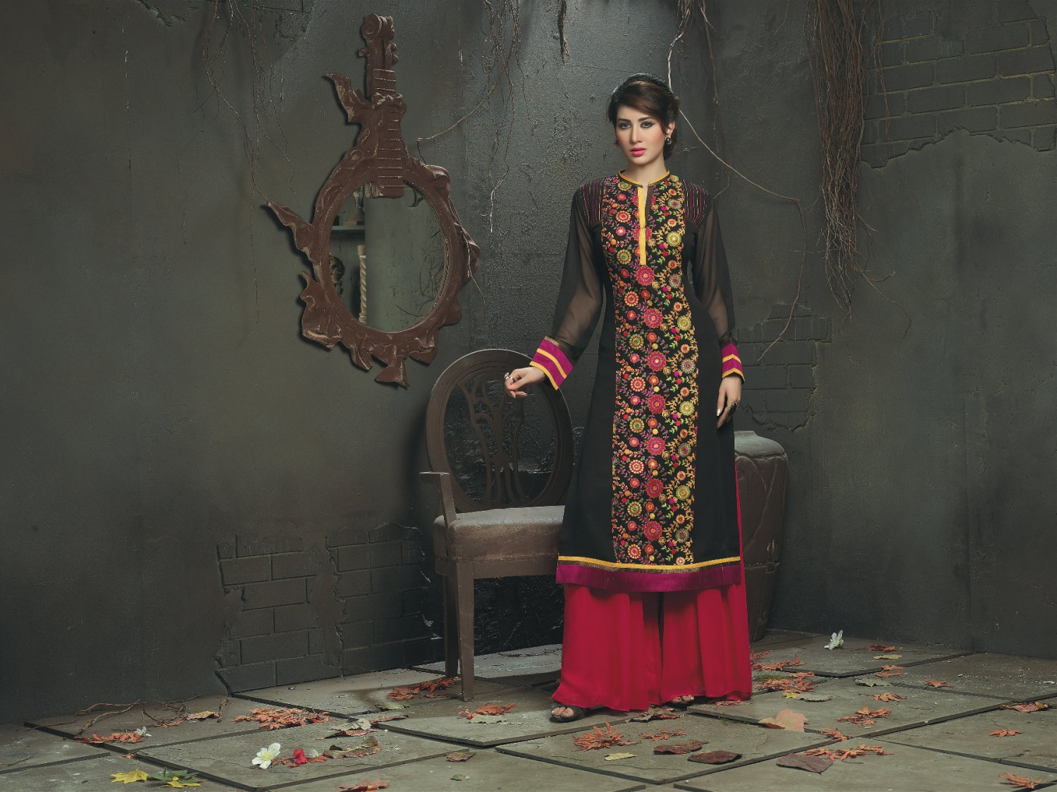 Black Designer Multi Color Floral Embroidery Suit (Long Kurti)