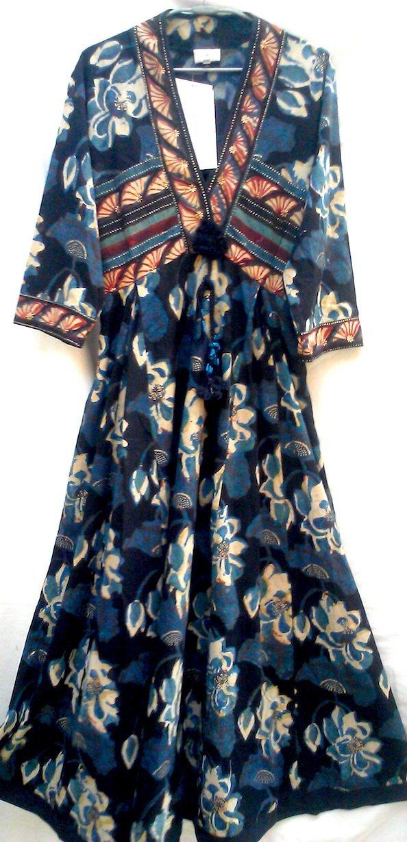 Anokhi Organic Black & Indigo Lotus Block Print Indian Cotton Maxi Dress M/L