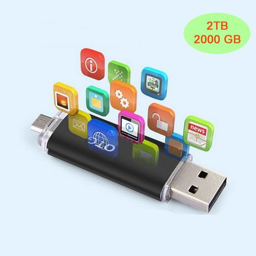 2TB Flash Memory Stick USB 3.0 for Android Smartphones,Tablets & PC 2000GB