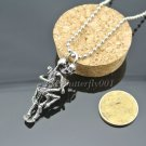 Antique Silver Titanium Steel Skull Charms Pendant Chain Necklace