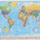 WORLD MAP POSTER (61x91cm) EDUCATIONAL WALL CHART FLAGS SCHOOL LEARN GEOGRAPHY