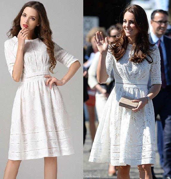 Kate Middlenton Elegant White Dress