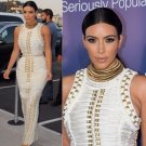 Kim kardashian White bandage gold studded beaded maxi dress
