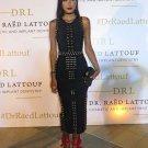 Kim kardashian Black bandage gold studded beaded maxi dress
