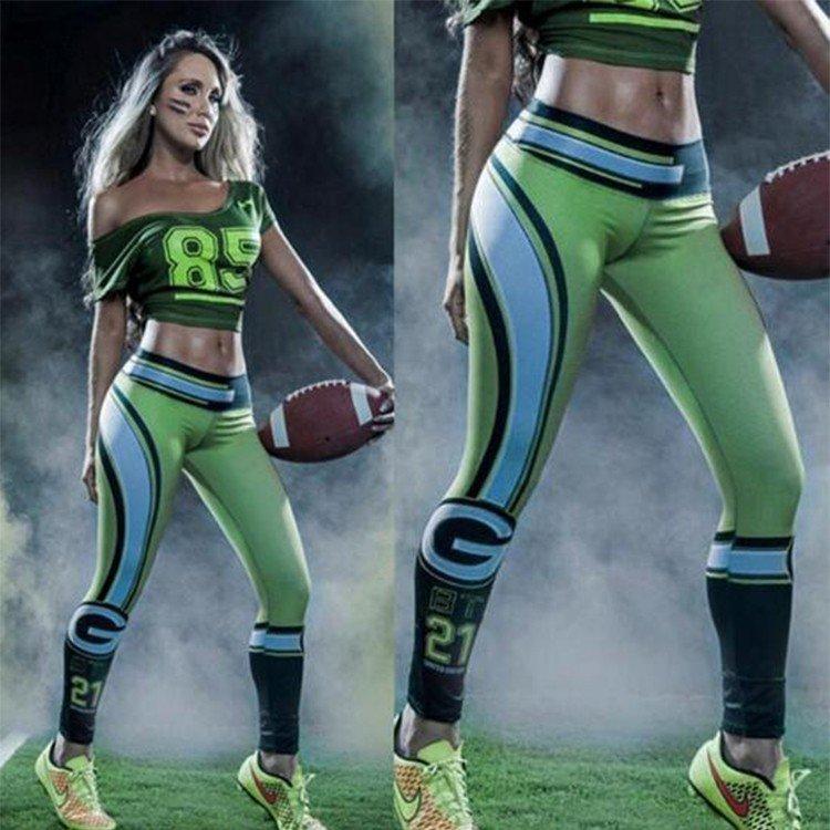 Free Shipping Woman Yoga Pants Tights Fiber Sport Leggings Green Bay Packers Leggings