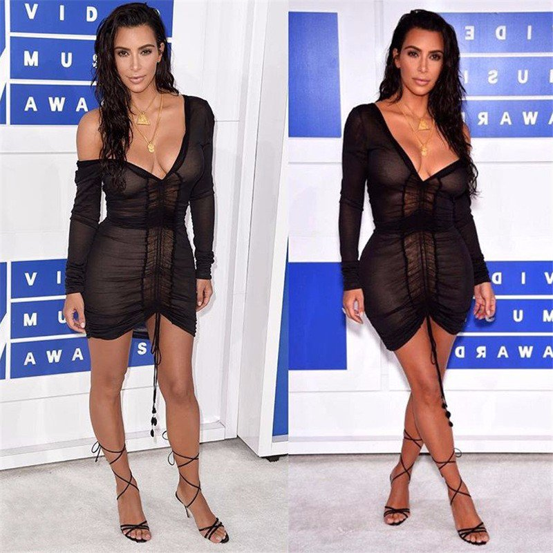 Kim Kardashian Party Dresses Deep V-Neck Sexy Black S size