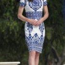 Kate Middleton Taj Mahal Inspired Blue white Floral Paisley Dress L Size