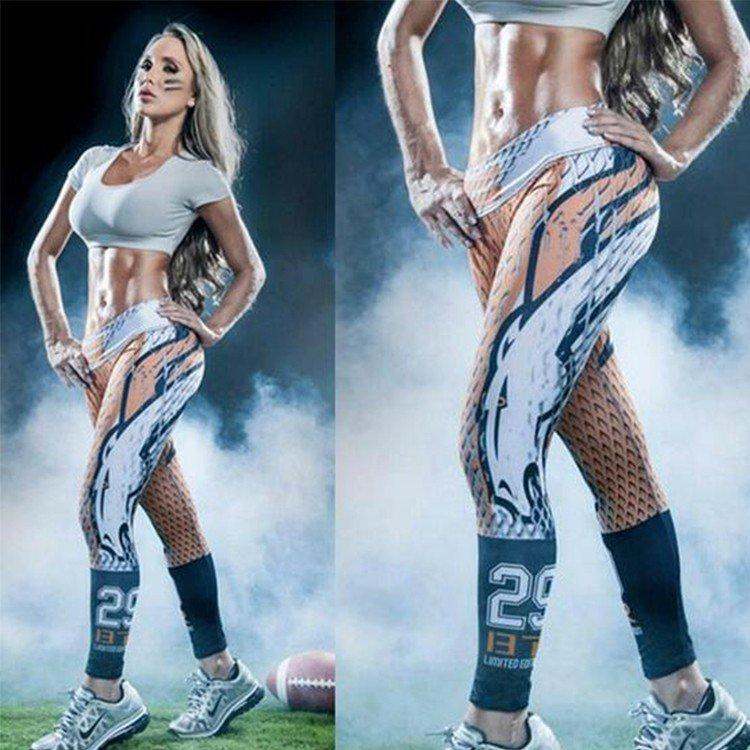 Free Shipping Woman Yoga Pants Fitness Sport 3D Leggings Denver Broncos Sports Tights Fiber Sport