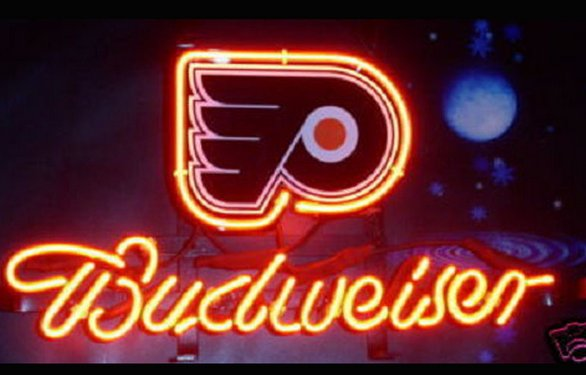 "Brand New NHL Philadelphia Flyers Budweiser Beer Bar Pub Neon Light Sign 13""x 8"" [High Quality]"